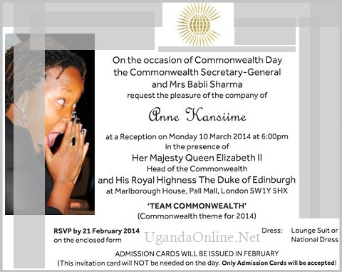 Anne Kansiime's invitation card