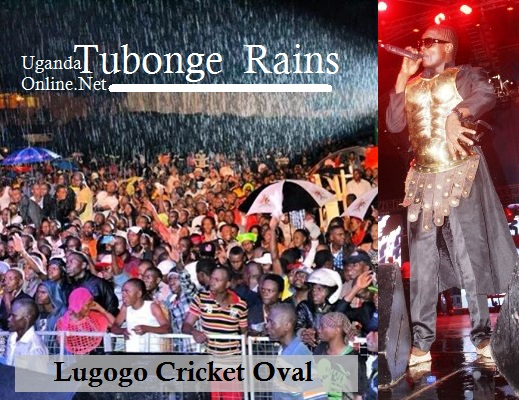 Revellers at Chameleone's Tubonge concert being soaked by rain