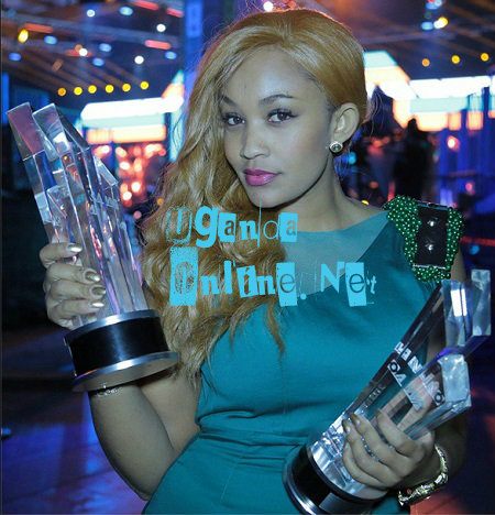 Diamond Platnumz new babe, Zari, with the awards the Bongo star won