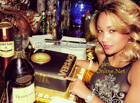 Zari showing off her Versace birthday cake