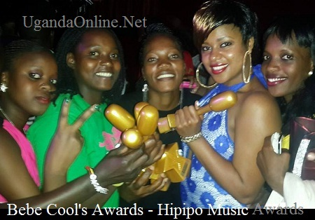 Zuena and other Gagamel members showing off Bebe Cool's accolades